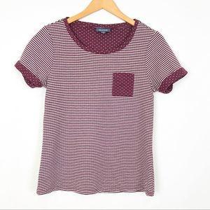 ModCloth Burgundy Red Polka Dot Striped Rolled Tee